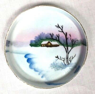 """Meito Hand Painted Porcelain Small Plate Tray Made Japan Winter Snow Scene 3.75"""""""