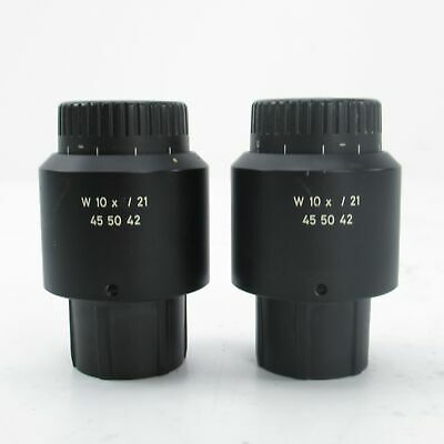 Carl Zeiss W 10X/21 Focusable Stereo Microscope Eyepiece Pair - Scratched