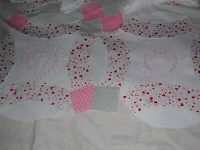 12  Wedding Ring Embroidered Feather Heart Pre cut Quilt Top Blocks Kit