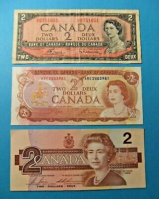 3 Bank of Canada 2 Dollar Notes from 1954, 1974, 1986 - FREE SHIPPING