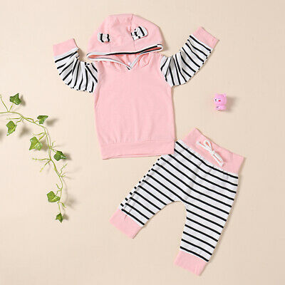Newborn Baby Boy Girl Long Sleeve Hoodies Sweatsuit Tops Striped Pants Outfits