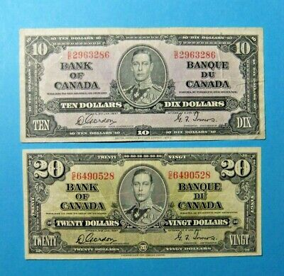 2 VF 1937 Bank of Canada Notes - 10 and  20 Dollar - FREE SHIPPING