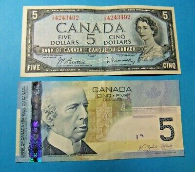 2 Bank of Canada 5 Dollar Notes - 1954 and 2006 - FREE SHIPPING