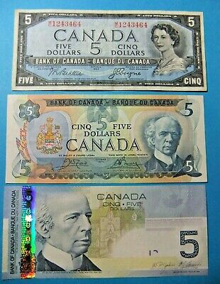3 Bank of Canada 5 Dollar Notes - 1954, 1979, 2006 - FREE SHIPPING