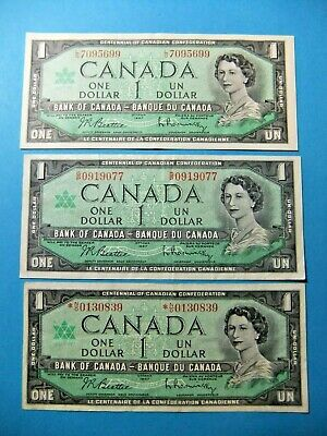 3x 1967 Bank of Canada 1 Dollar Centennial Notes
