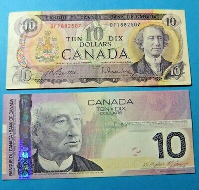 2x Bank of Canada 10 Dollar Notes, 1971 and 2005