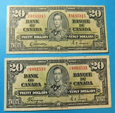 2x 1937 Bank of Canada 20 Dollar Notes - VF30/EF