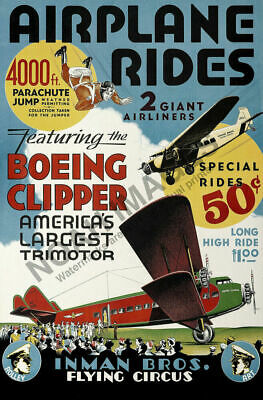 Airplane Rides Flying Circus vintage air show poster 24x36