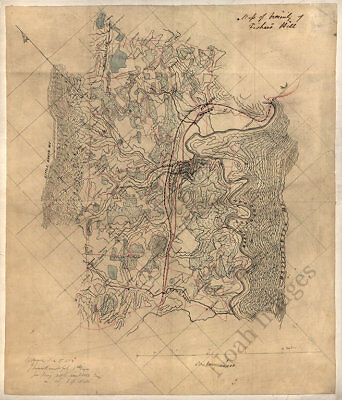 Map of vicinity of Fishers Hill Virginia c1864 16x20