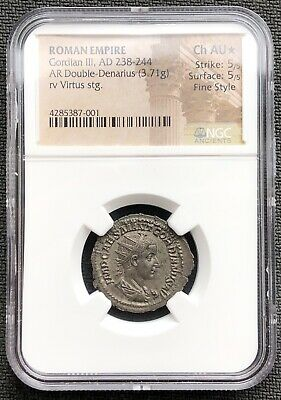 One Of The Finest AD 238-244 Roman Empire Silver Double-Denarius Gordian III NGC