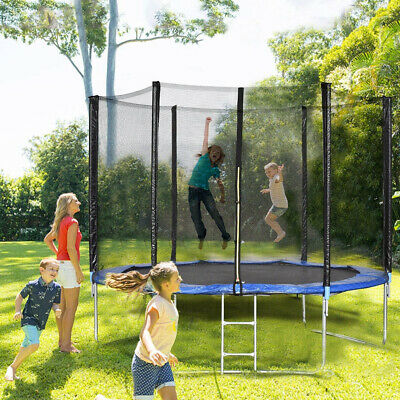 Trampoline With Enclosure 10ft Bounce Jump Safety Net With Ladder Kids Adults