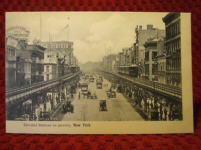 Early 1900'S. Elevated Railroad On Bowery, New York. Postcard J12