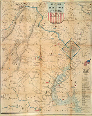 Army map of the seat of war in Virginia c1862 24x30