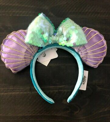 "Disney Parks Ariel Clam Shell Minnie Ears Headband ""Mermaid Hair Don't Care"" NWT"
