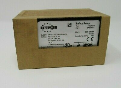 Tesch Safety Relay Type F121X04, 24Vac/Dc 4W, E-Stop & Safety Gate Monitor, New