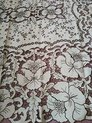 "Amazing Extensively Cutwork & Embroidered Madeira Linen Tablecloth 82"" by 65"""