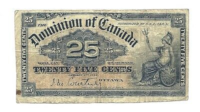 1900 DOMINION of CANADA TWENTY FIVE CENTS BANK NOTE (DC-15a)