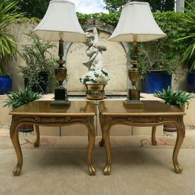 PAIR of FRENCH LOUIS XV GOLD BEDSIDE TABLE CARVINGS CABRIOLE LEGS