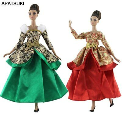 "Green Red Gold Costume Fashion Doll Clothes For 11.5"" Doll Gown 1/6 Party Dress"