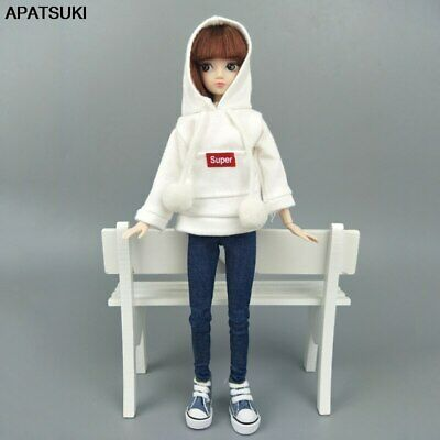 """White Red Super Sweatshirt Coat For 11.5"""" 1/6 Doll Clothes Outfits Leather Pants"""