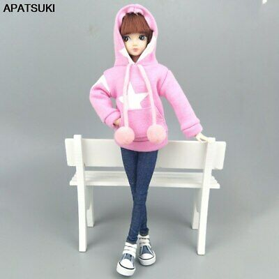 "Pink Star Sweatshirt Coat For 11.5"" 1/6 Doll Clothes Outfits Pants Canvas Shoes"