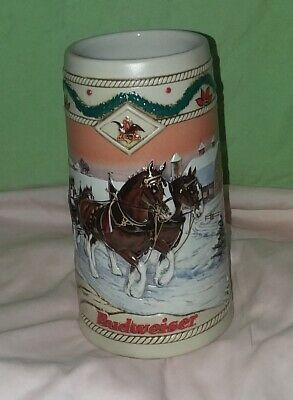 Budweiser Bud Beer Stein 2014 Clydesdales Holiday Christmas  NIB  Anheuser Busch
