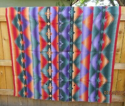 #5 Vintage 30s 40s Native Camp Cotton Wool Camping Blanket DAZZLER Purple Red