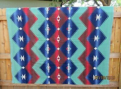 #13 Vintage 30s 40s Native Camp Cotton Wool Camping Blanket DAZZLER Green Navy