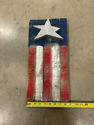 Wooden American Flag Sign 18 X 9 Reclaimed Distressed Wood Hand Painted Usa