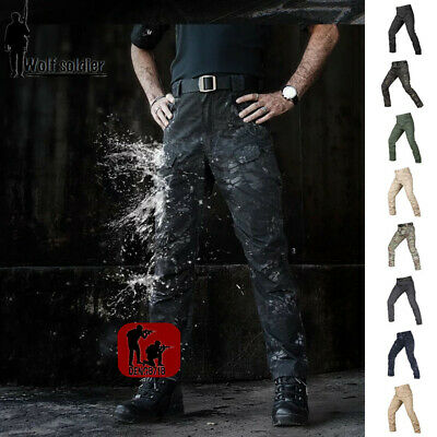 Mens Military Tactical Cargo Pants Army  Hiking Waterproof Casual Trousers New