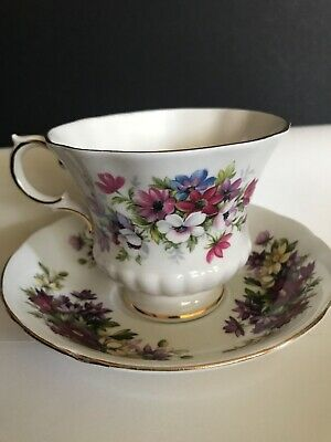 Excellent Paragon Purple Pink Flower Festival Cup And Saucer 1# Quality England