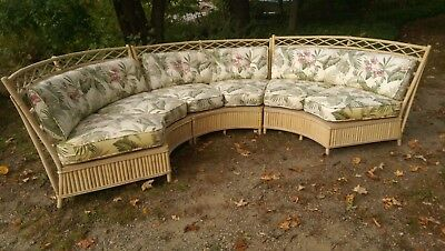 Rare Mid Century Antique vintage Fick's Reed rattan bamboo sectional porch sofa