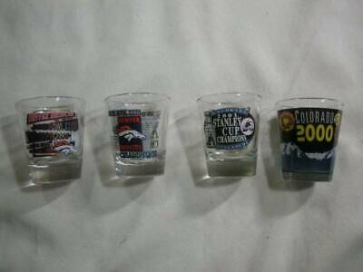 Lot of 4 Shot Glasses 2 Denver Bowl Champs 1 Stanley Cup 1 Colorado / Look!