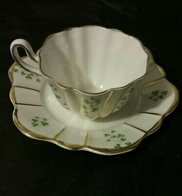 Royal Tara  Teacup & Saucer Shamrock Pattern Gold Accents Trim Ireland Fine Bone