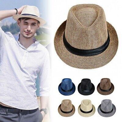 Men Straw Hat Linen Sun Protective Foldable Fashion Casual Cap for Summer Beach