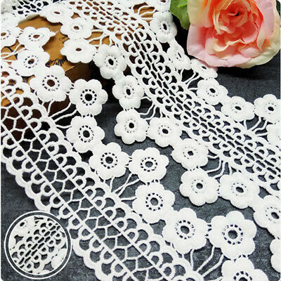 1yd Water Soluble Plum Flower Lace Trim Ribbon Applique Embroidered Sewing Craft