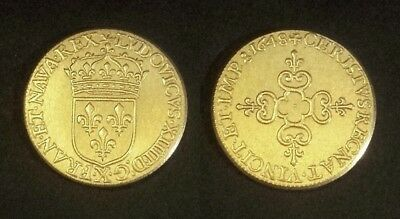 COPIE - Pièce plaquée OR ( GOLD Plated Coin ) - Ecu Louis XIV 1648