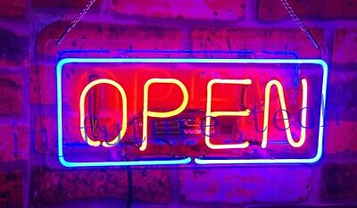 "New Open Neon Light Sign Acrylic 14"" Food Lamp Beer Pub Ice Cream Cafe Bar Pizza"