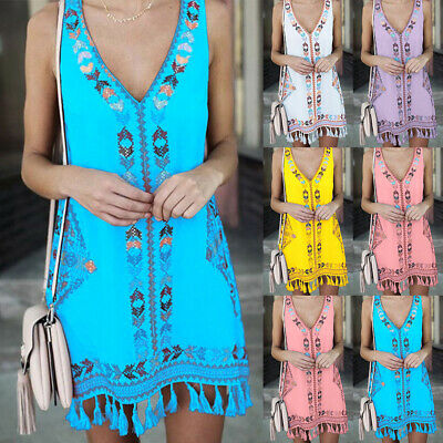 UK Boho Womens Summer Beach Wear Bikini Cover Up Mini Dress Ladies Sundress 6-24