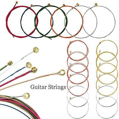 Set of 6 Replacement Steel Acoustic Classic Guitar Strings 80cm Length 3 Colors