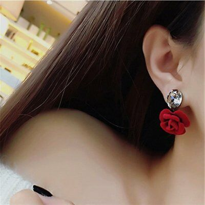 Charm WaterDrop Crystal Flower Earrings Red Rose Earrings Women Jewelry Party