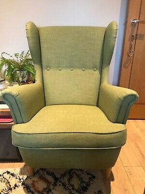 IKEA STRANDMON High Backed Wing Armchair, Green