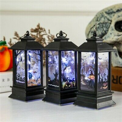 Halloween Vintage Lantern Party Hanging Decor LED Light Lamp Portable Nightlight