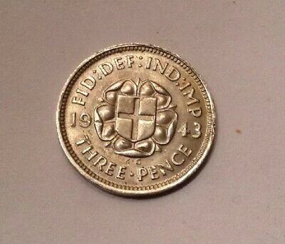 1943 King George V   Silver Threepence RARE DATE UNC