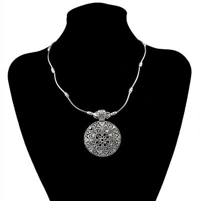 Bohemian Carved Silver  Plated Flower Long Chain Tibetan Retro Necklace GiftFW