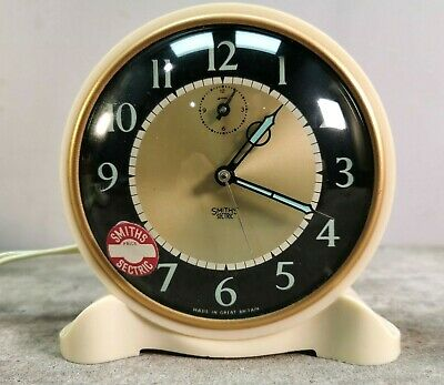 """SMITHS NEW CALLBOY 5"""" ALARM CLOCK 1960s Vintage Sectric Ivory Luminous BOXED"""