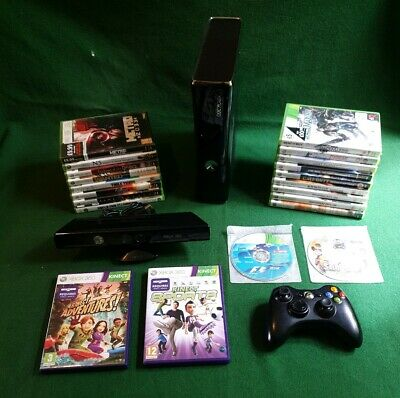 Microsoft Xbox 360 S 250GB Console Glossy Black-Kinect Included-21 Games Also