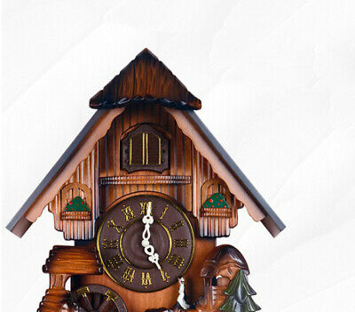 HP 26 14 Inch Wooden Cuckoo Coo Living Room Bedroom Rocking Wall Clock #
