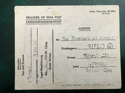 Uk Gb Germany 1947 Prisoner Of War Card Pow Camp Great Britain Camp Number 46