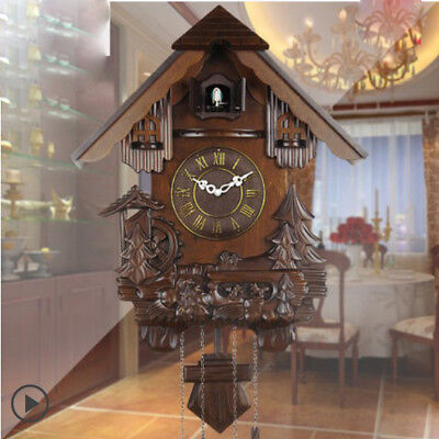 HP 25 ' 14 Inch Wooden Cuckoo Coo Living Room Bedroom Rocking Wall Clock #